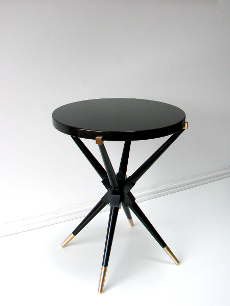 Antique Black Glass Marble Coffee Table